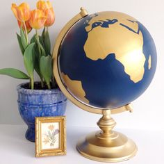 """Custom Color and Quote Guest Well Wishes Wedding Guestbook OR Ballot/Envelope Box Hand Painted World Globe 13"""" Diameter NEW LARGER size by NewlyScripted on Etsy https://www.etsy.com/listing/289268891/custom-color-and-quote-guest-well-wishes"""