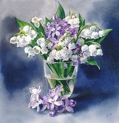 Lily Of The Valley Painting - Still Life With Lilacs And Lilies Of The Valley by Sergey Lukashin