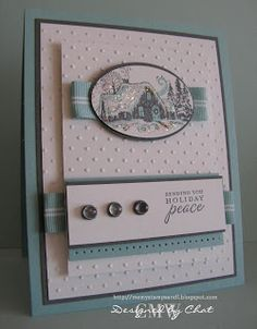 Me, My Stamps and I: Sending You... Stamps: To You and Yours Paper: Basic Gray, Baja Breeze, Whisper White Ink: Basic Gray, Baja Breeze Accessories: Dew Drops, Striped Grosgrain Baja Breeze Ribbon Tools: Piercing tool, glue dots, CE, Oval punch