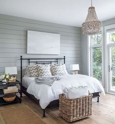 Gray bedroom accent wall shiplap ideas We share many pictures about Shiplap Bedroom. Farmhouse Master Bedroom, Home Bedroom, Bedroom Ideas, Bedroom Designs, Master Bedrooms, Bedroom Furniture, Master Bathroom, Budget Bathroom, Cottage Bedroom Decor