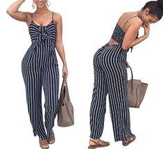 NANYUAYA Women Summer Off Shoulder Stripe Fashion Casual Long Sleeve Beach Jumpsuit