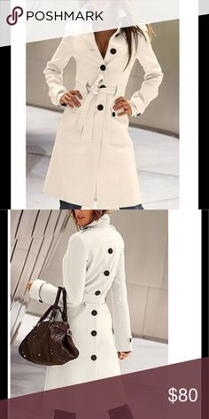Stylish Button Embellished Coat This lovely coat is stylish for the fall and winter seasons. It has both buttons and a belt. Embellished with buttons down the back. Has a flat collar. Material is cashmere and polyester. It is a slim style so PLEASE check sizing chart before you order. Please allow up to 2 weeks shipping. Boutique Jackets & Coats Trench Coats