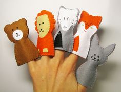 Forest Finger Puppets Set of 5 bear lion wolf fox by FeltFamily