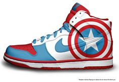 Custom Made Nike Captain America Sneakers Along with Several More Geek Designs! - News - GeekTyrant Nike Shoes Cheap, Nike Free Shoes, Nike Shoes Outlet, Cheap Nike, Nike Outfits, Nike Basketball, Nike Trainers, Sneakers Nike, Sneakers Fashion