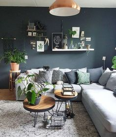 55 simple and modern living room designs for quiet people 8 - Home Design Ideas Cozy Living Rooms, Living Room Sofa, Home Living Room, Interior Design Living Room, Living Room Designs, Dining Room, Living Room Wall Colors, Blue Living Room Walls, Dark Green Living Room