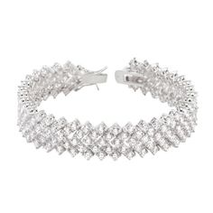 White Gold Rhodium Bonded 7 Inch Tennis Bracelet with Chevron Design with Round Cut Cubic Zirconia and Lock Clasp in a Silvertone. #mycustommade