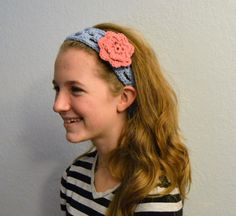 Periwinkle Crochet Headband with Three Flower Clips by HermitsOfAfton