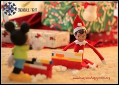 Day 23 Snowball Fight Elf.  Marshmallow fun with Mickey Mouse.
