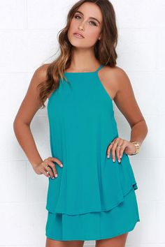 Turquoise Dress - Sleeveless Dress - Apron Dress - $41.00