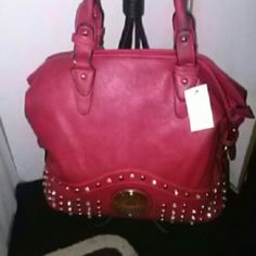 Handbag Big and beautiful  red rhinestone bag lots of room inside. designer bag Bags