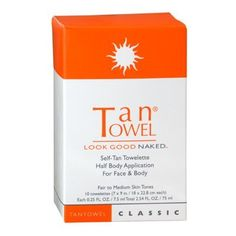 Tantowel Face & Body Towelettes Classic Half Body Application for Fair to Medium Skin Tones, 5 pack by Tan Towel. $8.55. Tantowel classic will produce a uniform, natural looking glow within few hours. Give yourself a no-mess, streak-free, quick and simple, beautifully even tan. The tantowel Half Body Classic 5 Pack is unlike messy lotions and will not streak, drip or smear. It dries in seconds and has a light citrus scent.