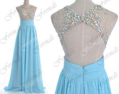 2014 Prom Dresses, Sky Blue Formal Dresses, Straps Lace/ Crystal Long Chiffon Prom Dresses with Open Back, Wedding Party Dresses