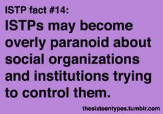 The Sixteen Types. ISTP. Cynical of people's motives.