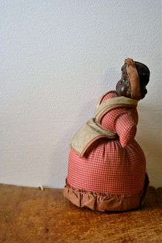 Antique Mammy Pin Cushion Doll Chalk Ware by blueflowervintage