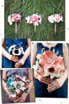 flowers, felt flower bouquet, wedding bouquet