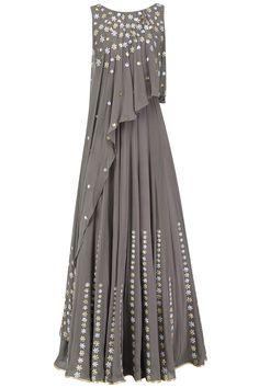 Seema Thukral Grey Embroidered Attached Dupatta Anarkali
