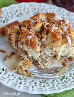 cinnamon-roll- french toast bake. Ingredients: butter, Pillsbury cinnamon rolls, eggs, heavy cream (or half-and-half), cinnamon, nutmeg, vanilla, pecans, maple syrup
