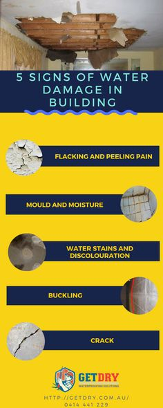 This infographic will help you to get details about the signs of #water #damage in building.