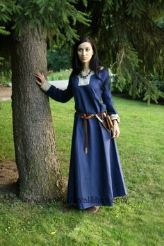 Early Medieval linen underdress dress.   100% linen. Viking costume, reconstruction.