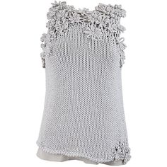 Brunello Cucinelli Sleeveless Flower Detail Sweater ($1,195) ❤ liked on Polyvore