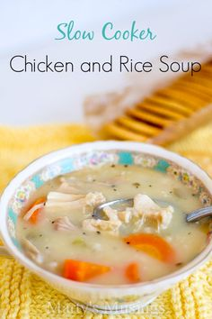 This easy slow cooker chicken and rice soup features pre-cooked chicken, brown rice and vegetables and is an quick and healthy meal for busy families.