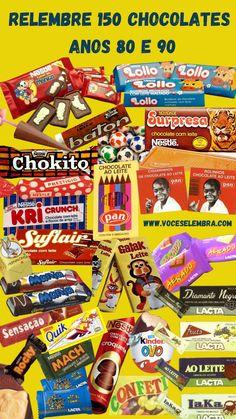 Relembre mais de 150 chocolates dos anos 80 e 90. Quais eram os seus favoritos? No site www.voceselembra.com você mata as saudades de mais de 700 guloseimas (chocolates, biscoitos, balas, picolés, sorvetes, chicletes) antigos.