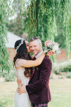 Bride and Groom from a Pretty Pastel Flower Filled Summer Wedding | Photography by http://www.kyleeyee.com/