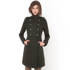 Manteau militaire col montant 50% laine