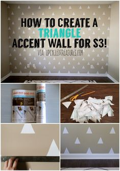 DIY Triangle Accent Wall for Less than $3 - UpcycledTreasures.com