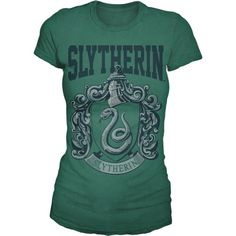 Harry Potter Junior Girl's Short Sleeved Slytherin T-Shirt (23 CAD) ❤ liked on Polyvore featuring harry potter