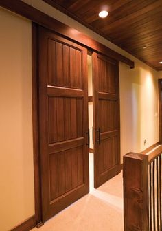 Double barn doors in a hallway