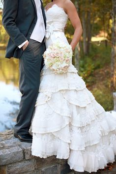 How do you see a barn wedding dress? Actually, there's no stereotype and you choose a gown according to the wedding style you have: a romantic ruffled one, a stylish vintage one, a beautiful classic one, etc. Barn Wedding Dress, Country Wedding Dresses, Dream Wedding Dresses, Wedding Attire, Lace Wedding, Trendy Wedding, Wedding Beach, Wedding Rustic, Ruffle Wedding Dresses