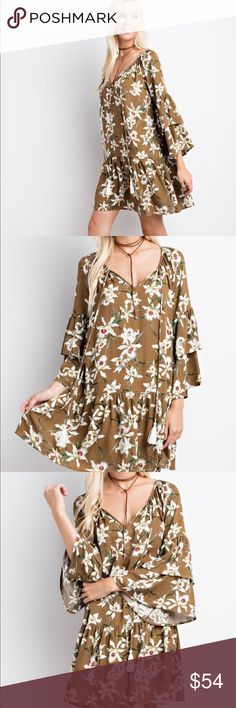 Olive Boho Floral Dress Beautiful olive floral dress is boho casual chic! Two tiered bell sleeve adds a wispy light look! A-line cut with a tufted hem!! Perfect pairing a with boots or sandals Spring through Fall! Rayon 100% Sizes Small, Medium, Large.   Garment Care: Hand Wash mittoshop Dresses Long Sleeve