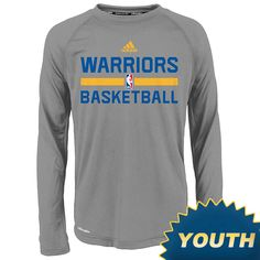 Golden State Warriors adidas Youth Long Sleeve CLIMALITE Practice Graphic Tee - Grey