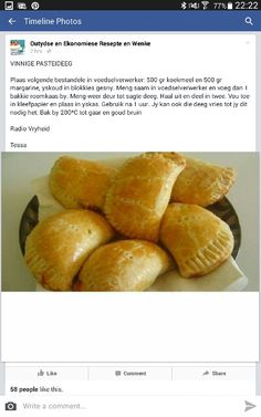 Vinnige g pasteideeg Pastry Recipes, Tart Recipes, Gourmet Recipes, Cooking Recipes, Beer Bread Mix, Kos, Savory Pastry, Picnic Foods, Recipes From Heaven
