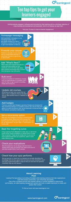 10 Tips to Get eLearners Engaged Infographic