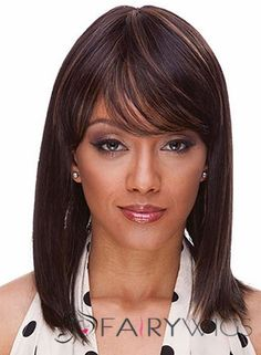 Cheap Medium Straight Brown African American Wigs for Women