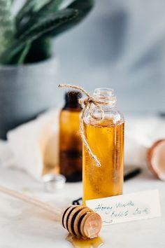 Homemade bubble bath recipe with moisturizing honey and relaxing vanilla.