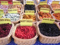Multiple baskets of dry fruit at a street market in Budapest, Hungary