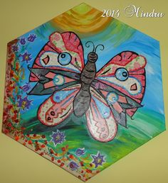 """""""FEEL FREE"""" My #6 project on canvas - paper decoupage and acrylics - made especially for my child"""