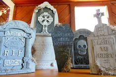 addams family musical | Fun way to update cheap styrofoam tombstones! Upcycle cardboard boxes ...