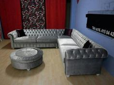 Grey Velvet Sofa, L Shaped Sofa, Grey And White, Living Room Decor, Couch, Dining, Inspiration, Furniture, Home Decor