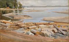The Athenaeum - Log Raft (Albert Edelfelt - ) Modern Art Paintings, Paintings I Love, Amber Tree, Inspirational Artwork, Ways Of Seeing, Modern Artists, Logs, Rafting, Finland