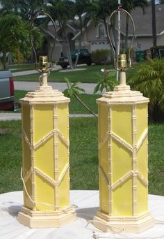 VINTAGE LAMPS Hollywood regency mid century faux bamboo chalkware pair | eBay
