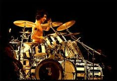 Alex Van Halen and his zebra drum kit