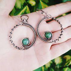 Green jade hoop earrings  copper wire earrings wire wrapped jewelry earrings jade hoops copper, jade jewelry,  copper wire hoops wire by FromRONIKwithLove on Etsy https://www.etsy.com/listing/497334644/green-jade-hoop-earrings-copper-wire