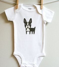 Baby clothes boston terrier. Long or short by squarepaisleydesign