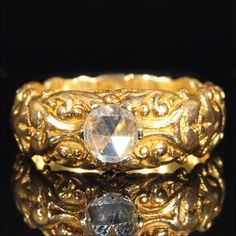 Antique Art Nouveau Rose-cut Diamond Solitaire Ring, Dated 1898 18k Gold by VictoriaSterling on Etsy https://www.etsy.com/listing/196579562/antique-art-nouveau-rose-cut-diamond