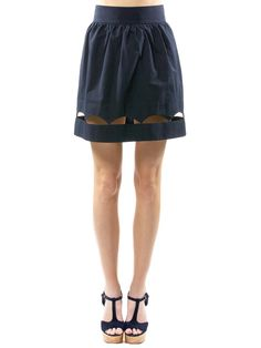 Scallop Hem Skirt in Navy