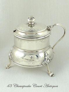 Antique English Sterling Silver Mustard Pot with Cobalt Liner